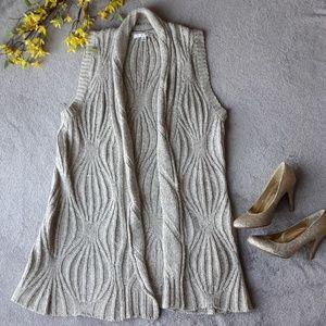 CAbi Grey/Beige Sweater Vest Tunic Top Yak Hair